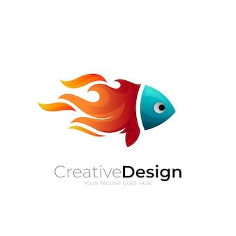 Logo di pesce e modello di progettazione del fuoco, icone colorate 3d