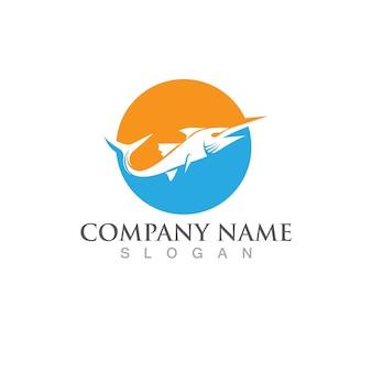 Modello di logo di pesce. simbolo di vettore creativo