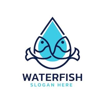 Logo di pesce a forma di goccia d'acqua