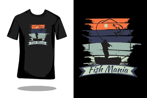 Design retrò per t-shirt con sagoma di pesce mania