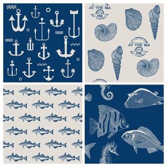 Set di sfondo marino e pesce
