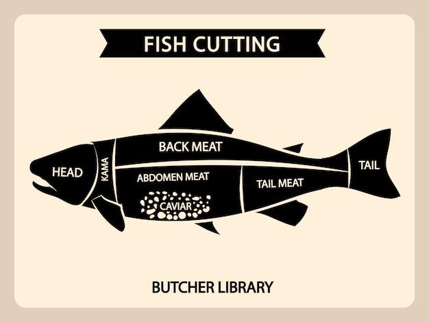 Grafico di taglio di carne di pesce vintage, diagramma guida tagli