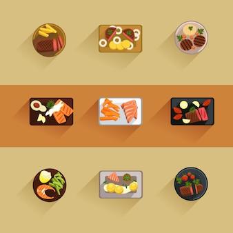 Bistecche di carne e pesce cottura icona piatto isolato