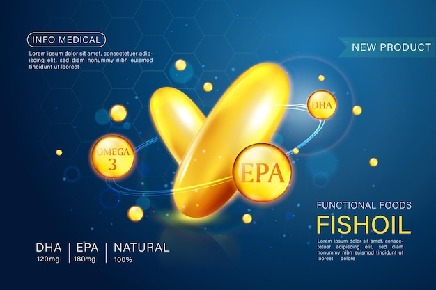 Modello di annunci di olio di pesce, omega-3. illustrazione 3d.