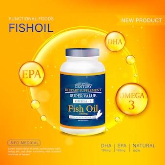 Modello di annunci di olio di pesce, softgel omega-3 con la sua confezione. sfondo del mare profondo. illustrazione 3d.