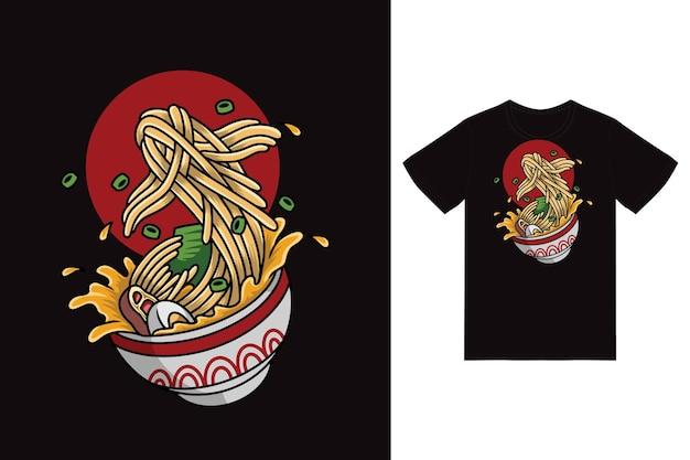 Illustrazione di spaghetti ramen di pesce con design tshirt premium vector