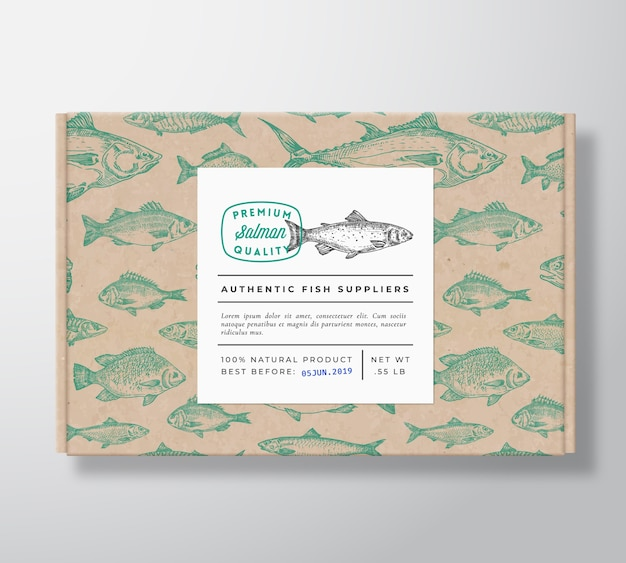 Mockup di imballaggio scatola di cartone realistico di pesce
