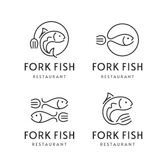 Insieme del logo del ristorante di pesce