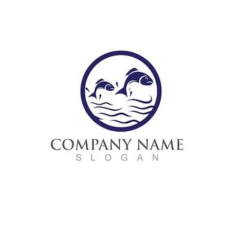Modello di logo di pesce salmone. simbolo di vettore creativo