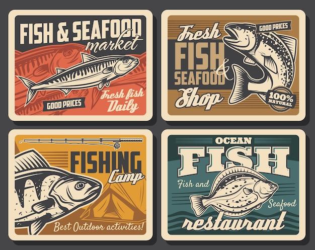 Pesce e frutti di mare, pesca sportiva. salmone, tonno e passera