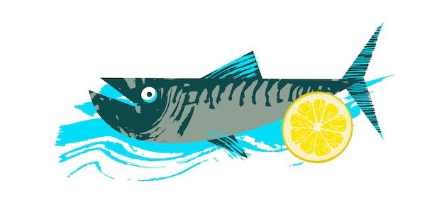 Pesce. frutti di mare. sgombro con una fetta di limone. illustrazione di vettore con struttura disegnata a mano unica.