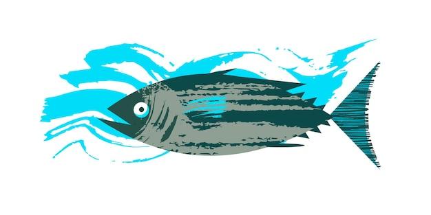 Pesce. frutti di mare. tonno. illustrazione di vettore con struttura disegnata a mano unica.