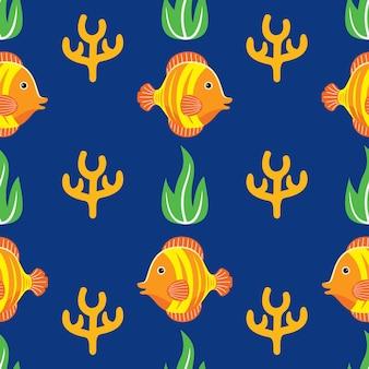 Modello senza cuciture di pesce in stile design piatto