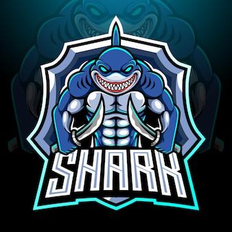 Disegno della mascotte del logo di pesce squalo esport