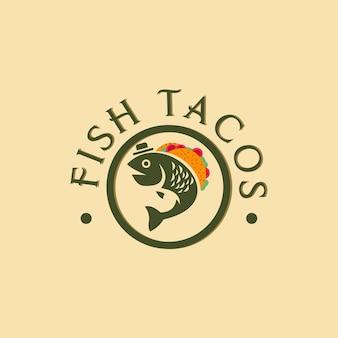 Illustrazione di design del logo di tacos di pesce