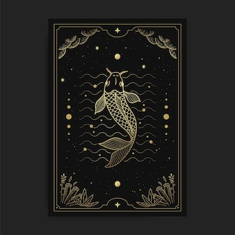 Pesce in carte dei tarocchi, decorato con nuvole dorate, luna, spazio e molte stelle
