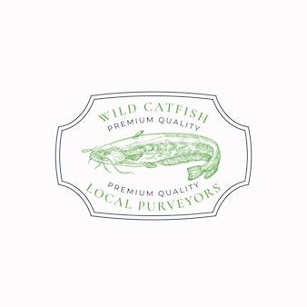 Distintivo di cornice vintage di pesce o modello di logo