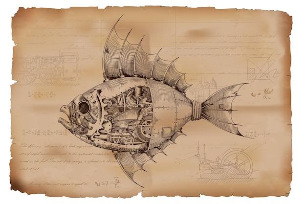 Pesce con corpo in metallo a comando meccanico in stile steampunk sullo sfondo di vecchia carta stropicciata con disegni, formule e note tecniche.