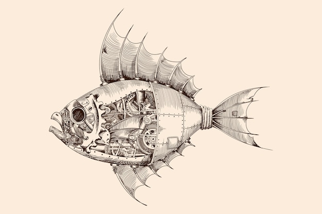 Pesce con un corpo in metallo a controllo meccanico in stile steampunk.