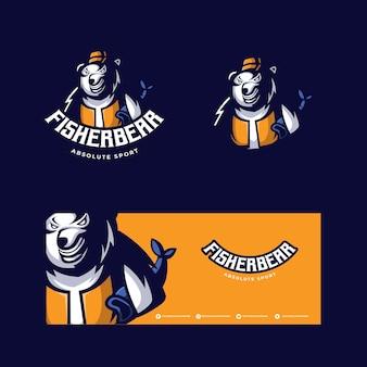 Logo della mascotte di fisherbear esport