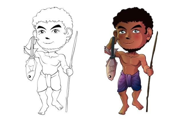 Pagina da colorare del fumetto del pescatore per i bambini