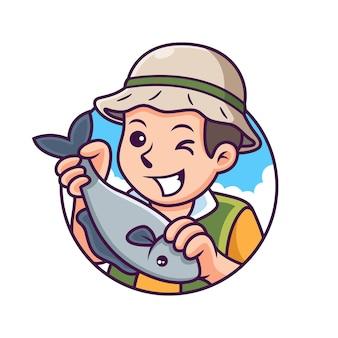 Cartone animato pescatore con posa carina. illustrazione dell'icona. persona icona concetto isolato Vettore Premium