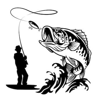 Pescatore che cattura il pesce grosso branzino in stile bianco e nero
