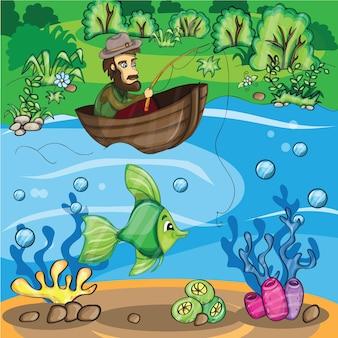 Pescatore che cattura il pesce - illustrazione del fumetto di vettore