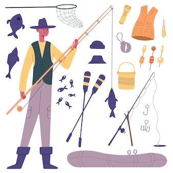 Carattere del pescatore. pescatore di cartoni animati con attrezzatura da pesca, canna da pesca, mulinelli, barca e set di illustrazioni vettoriali per esche per pesci. simboli di pesca per il tempo libero all'aperto. attrezzature per hobby come ganci, pagaie