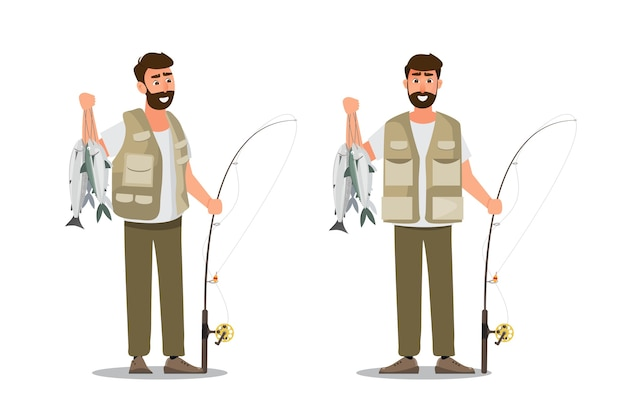 Carattere del pescatore che tiene un grosso pesce e una canna da pesca