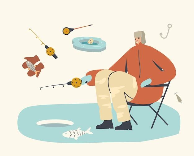 Carattere del pescatore in vestiti caldi e cappello di paraorecchie che si siede con l'asta sulla sedia che ha una buona cattura sul lastrone di ghiaccio in mare. m