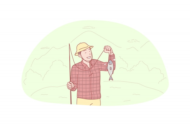 Pescatore, pesca, cattura, illustrazione hooby