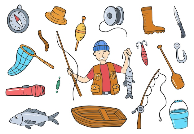 La professione di pescatore o pescatore scarabocchia collezioni di set disegnate a mano con stile contorno piatto