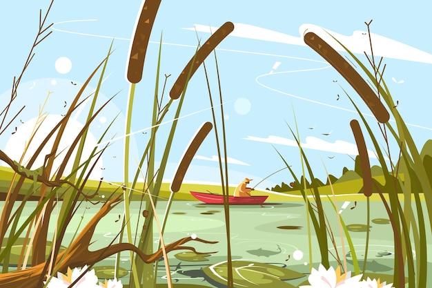 Illustrazione del pescatore che pesca nello stagno