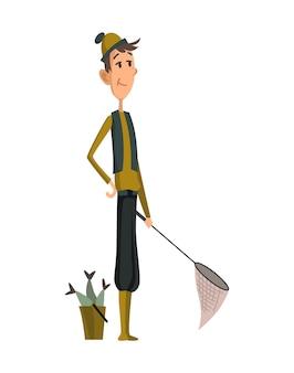 Pescatore che pesca con il pesce. pescatori con pesce e rete per tagliare il pesce