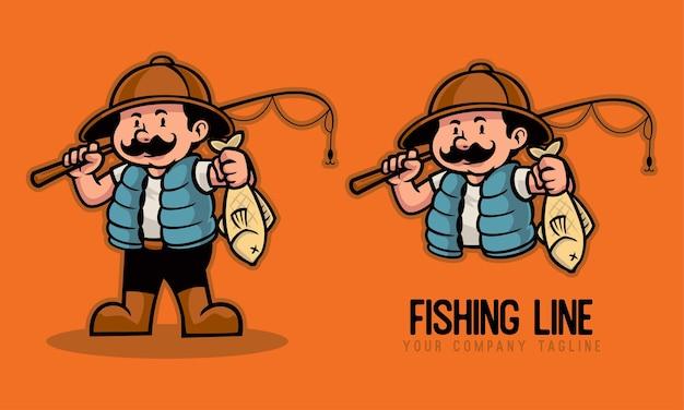 Pescatore che tiene una canna da pesca e un pesce