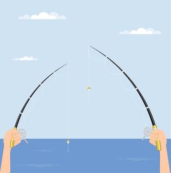 Il pescatore tiene la canna da pesca con il mulinello in mano, canne da spinning. illustrazione.