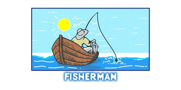 Vettore minimalista dell'illustrazione del pescatore