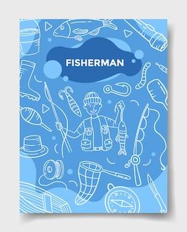 Professione di lavoro di pescatore con stile scarabocchio per modello di banner, volantini, libri e copertine di riviste