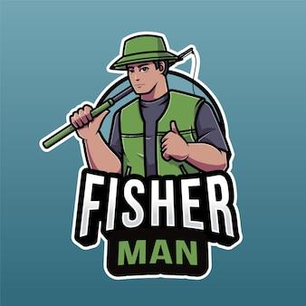 Modello di logo del pescatore