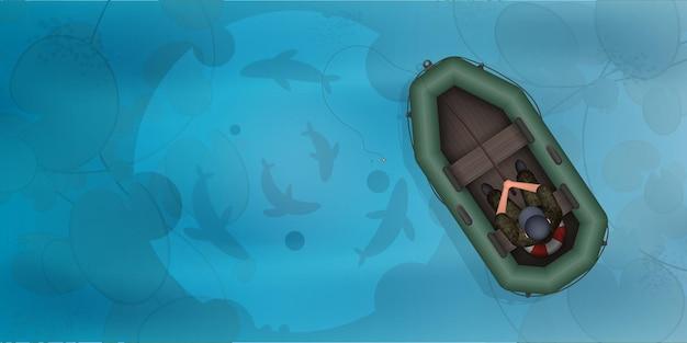 Pescatore in un gommone. pesce nella vista dall'alto dell'acqua.