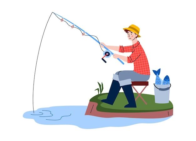 Pescatore seduto sulla riva con catture nel secchio e canna da pesca in acqua