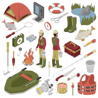 Pescatore con pesce, canna, amo e barca. strumenti di pesca. illustrazione isometrica 3d piana di vettore