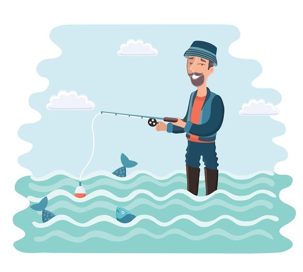 Il pescatore con una canna da pesca nelle sue mani vacanza in campeggio si rilassa illustrazione vettoriale dei cartoni animati