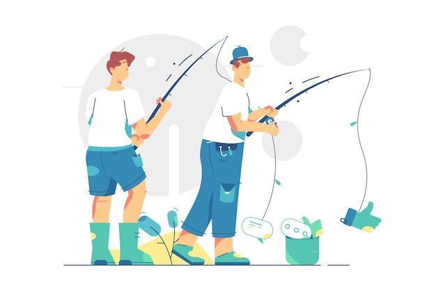 Amici di pescatori alla riva del fiume. ragazzi con secchio di metallo e canne da pesca in stile piatto. pesca sportiva, attività ricreative estive all'aperto, concetto di tempo libero.