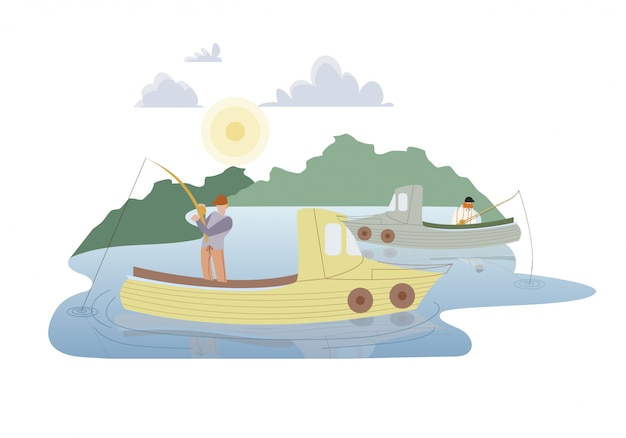 Pescatori nell'illustrazione piana di vettore delle imbarcazioni a motore