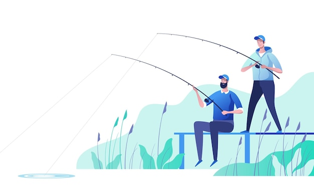Pescatori in riva al fiume. pesca sportiva, attività ricreative estive all'aperto, tempo libero. illustrazione.