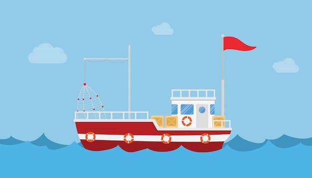 Barca da pesca da sola nell'oceano mare con acqua blu e cielo pulito con uno stile piatto moderno