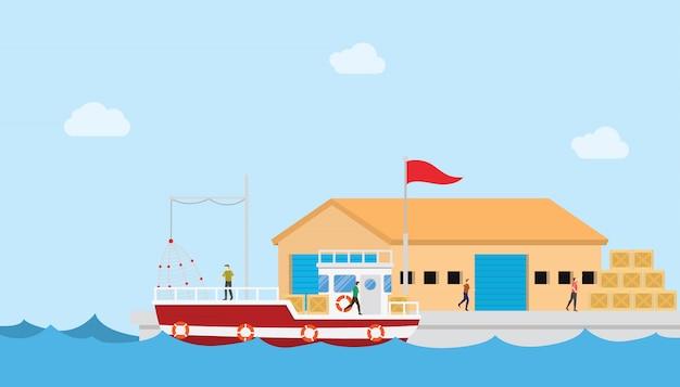 Concetto di industria della pesca sul piccolo porto e magazzino o edificio di magazzino con barca e persone con stile piatto moderno