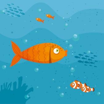Pesca animali marini nell'oceano, abitanti del mondo marino, simpatiche creature sottomarine, sottomarini